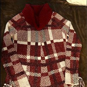 NEW Plaid Sweater with Fringe type bottom. (M)